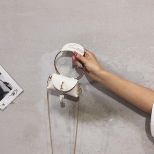 White leather luxe mini bag